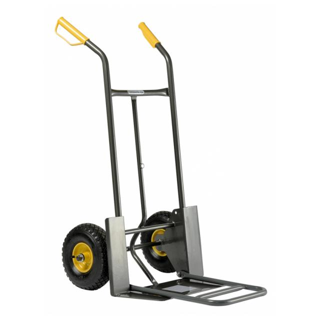 Handling sacktruck, with rigid and fold-down platform, 2 pneumatic wheels