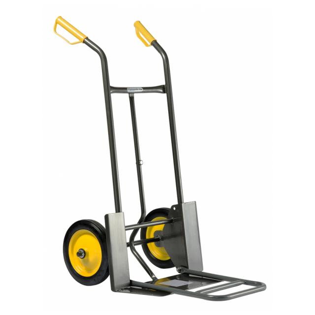 Handling sacktruck, with rigid and fold-down platform, 2 solid wheels